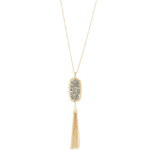 Crystal Pendant with Metal Fringe NL