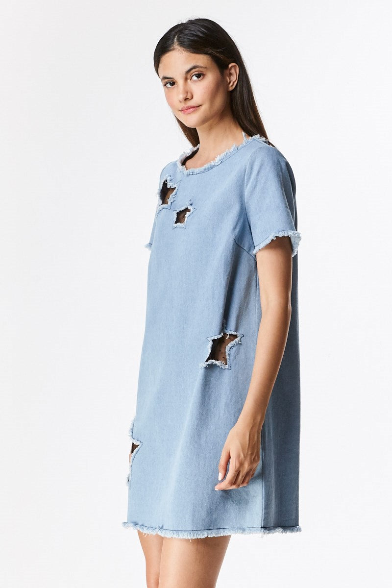 08436a9d1a8 Denim Dress with Star Cut Outs