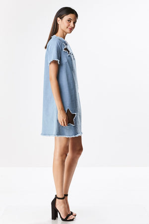Denim Dress with Star Cut Outs