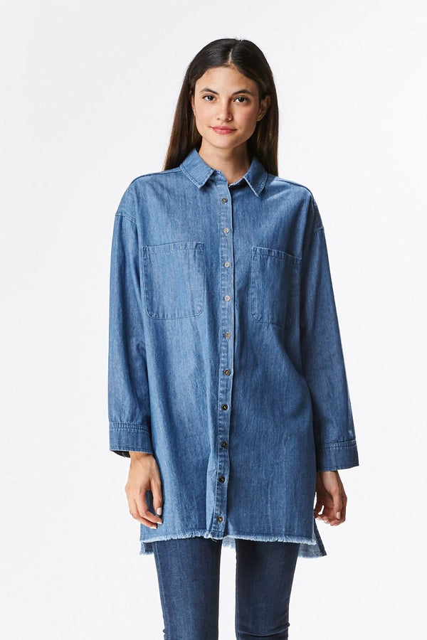 Frayed Denim Shirt Dress