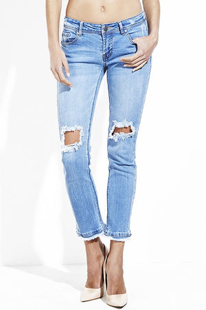 Destroyed Straight Leg Jeans