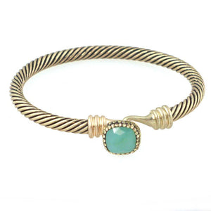 Threaded Bangle with Solitaire Jewel BL