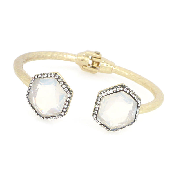 Double Jewel Hinged Bangle