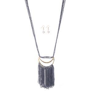 Half Moon Beaded Fringe Necklace