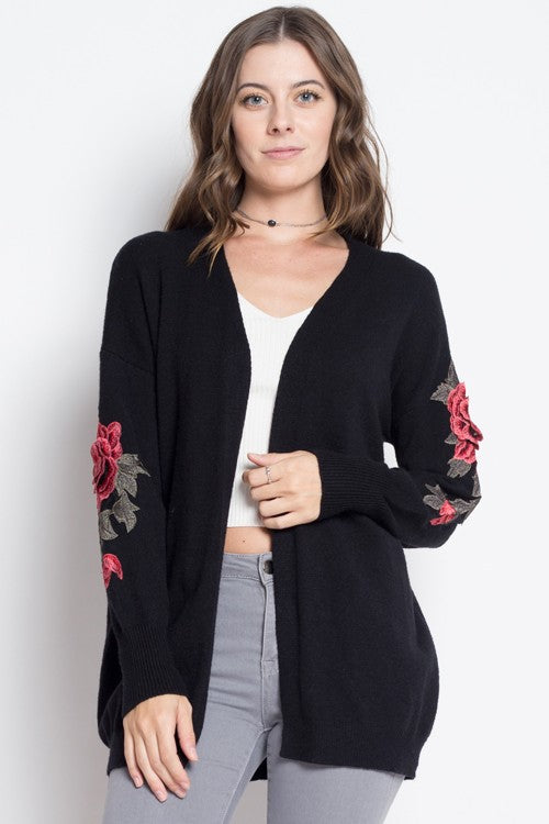 Oversized Cardigan with Rose Sleeves