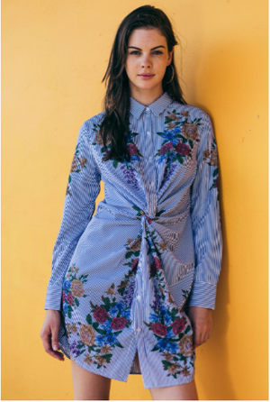 Mixed Print Knotted Shirt Dress