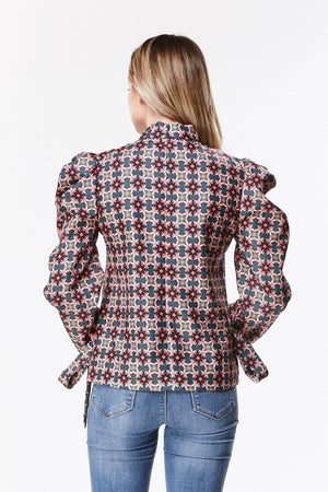Printed Victorian Puff Sleeve Blouse