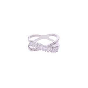 Baguette & Diamonds Cross Band Ring