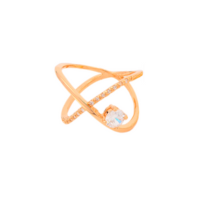 Criss Cross Band with Solitaire Ring