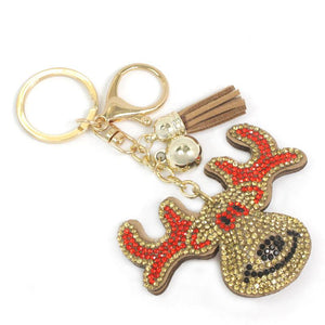 Diamond Reindeer Head Keychain
