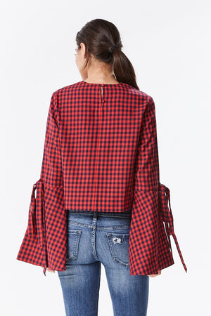 Checkered Bell Sleeve Shirt with Embroidery