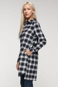 Button Down Plaid Shirt Dress with Pockets