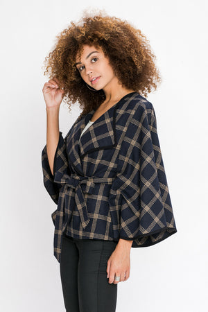 PLAID CAPE JACKET