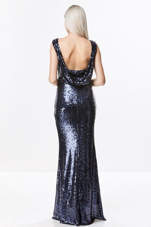 Sequin Drape Open Back Gown