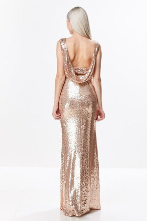 Sequin Drap Open Back Gown