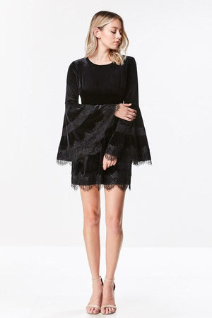 Bell Sleeve Velvet Lace Trim Dress