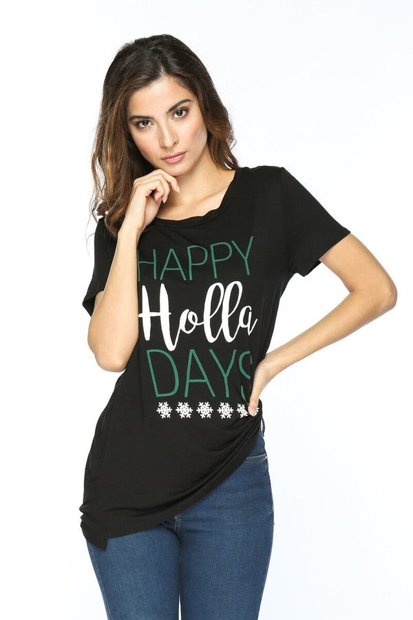 """HAPPY HOLLA-DAYS"" Holiday Tee"