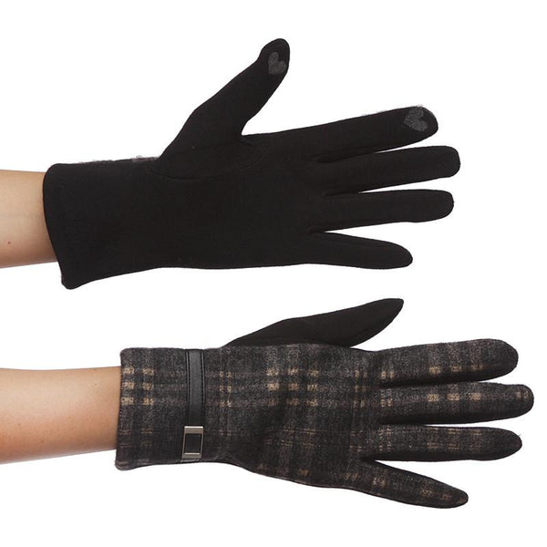 Plaid Gloves with Buckle