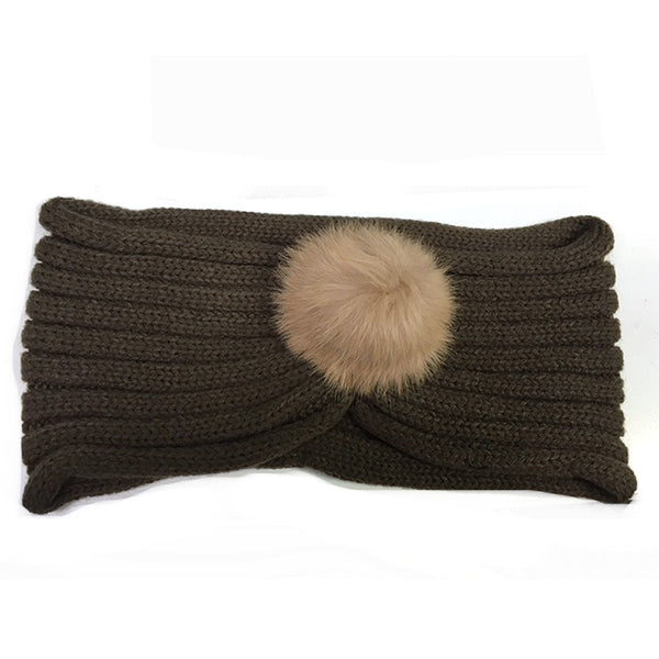 Fur Pom Head Wrap