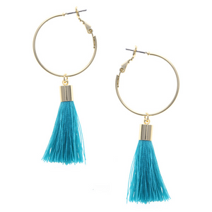 Fringe Drop Hoop Earrings