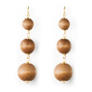 3 Tier Wooden Ball Earrings