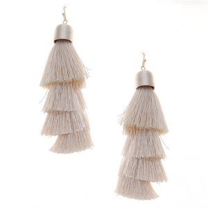 Tiered Fringe Stmt Earrings