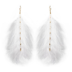 Feather & Dots Stmt Earrings