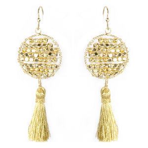 Bead Dot Tassel Earrings