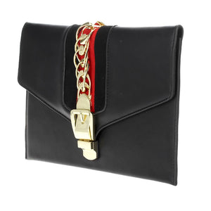 Envelope Clutch w Chain Detail