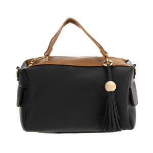 Two-tone Satchel w Fringe Charm