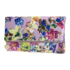 Flower Print Sequin Clutch