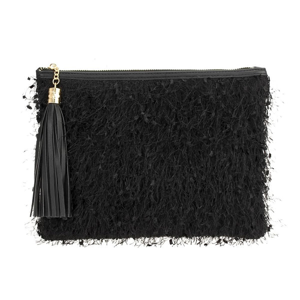 Ostritch Fringe Zip Top Clutch