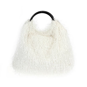 Ring Handle Ostritch Fringe Tote