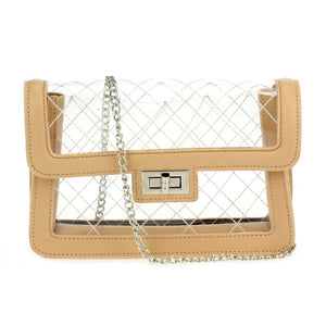 Clear Quilted Purse with Chain Strap