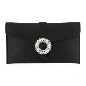 Satin Envelope Clutch with Broach