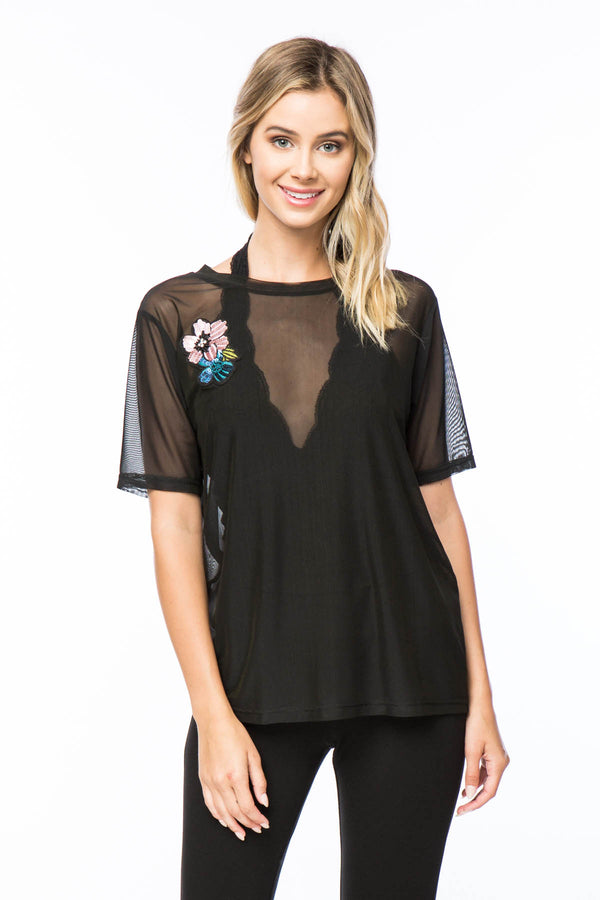 Sheer Mesh Top With Flower Patch