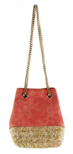 Faux Suede & Straw Mini Bucket Bag