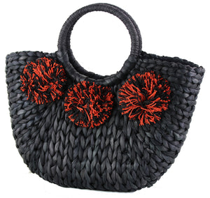 STRUCTURED STRAW BAG W STRAW POM POM