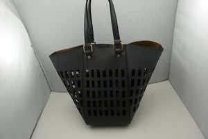 CUTOUT TOTE WITH INTERIOR POUCH