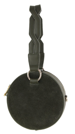 Faux Suede Circle Bag with Braided Wristlet
