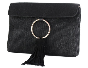 STRAW RING TASSEL CLUTCH