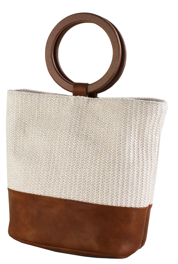 STRAW MINI TOTE W/WOOD RING HANDLE