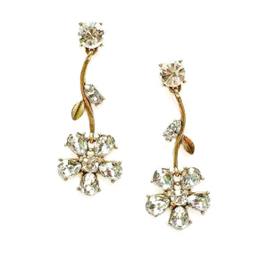 Hanging Diamond Flower Earrings