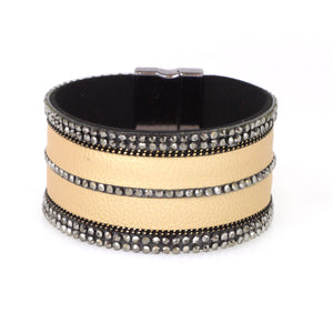 Leather & Crystal Cuff Bracelet