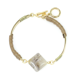 Stone & Leather Bangle
