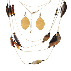Layered Shell Drops Necklace