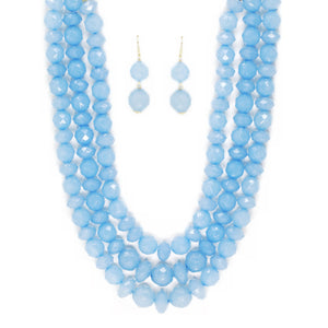 Triple Layered Crystal Bead Necklace