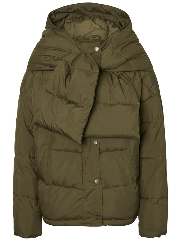 Scarf Puffer Short Jacket