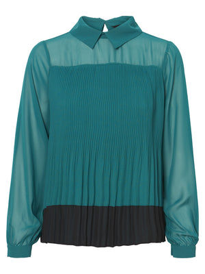 Lea Long Sleeve Pleated Blouse