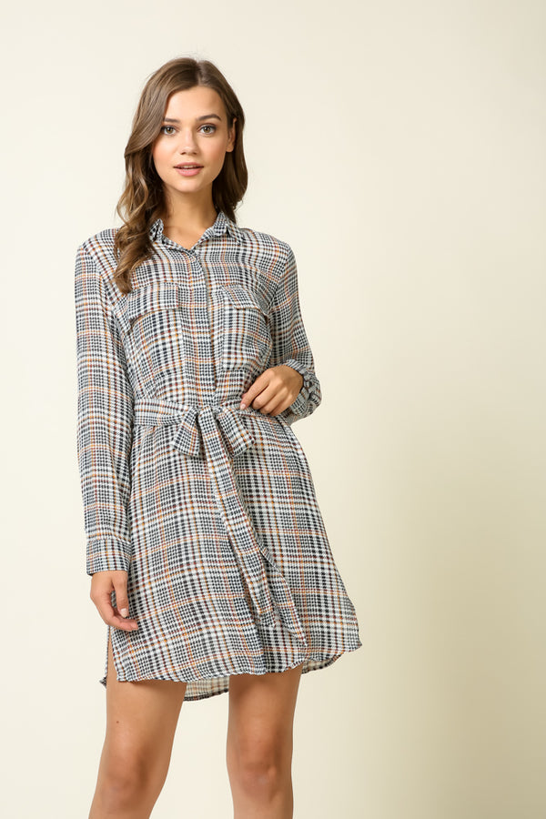 Plaid Twist Front Dress